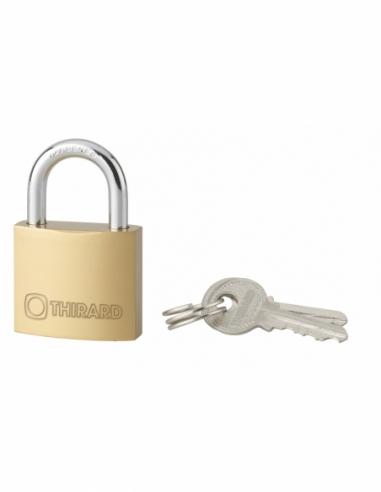 Cadenas à clé Type 1, laiton, intérieur, anse acier, 30mm, 2 clés - THIRARD Cadenas