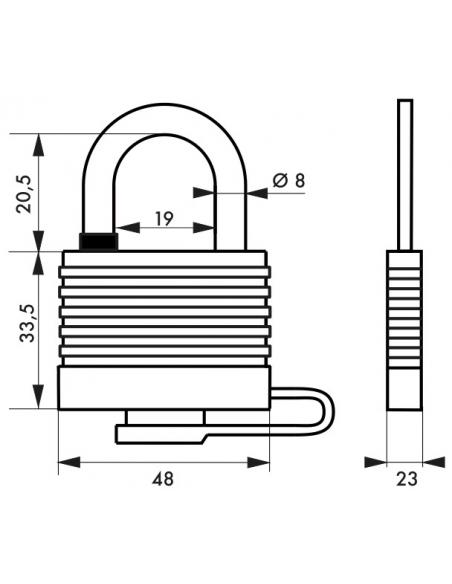 Cadenas à clé Fédéral Lock Sea Line, laiton, extérieur, anse inox, 40mm, 2 clés - THIRARD Cadenas