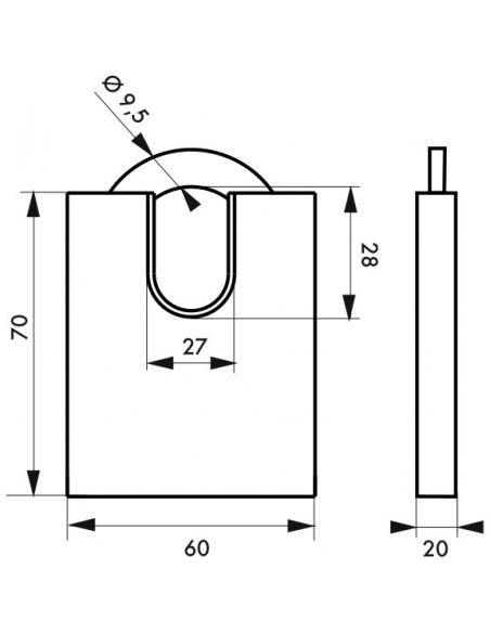 Cadenas à clé Quadra, acier, chantier, anse protégée acier, 60mm, 4 clés - THIRARD Cadenas