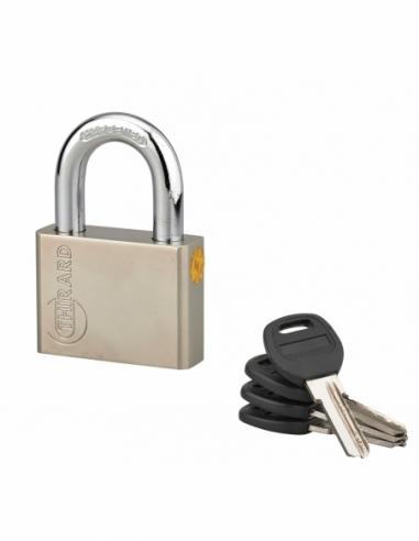 Cadenas à clé Quadra, acier, chantier, anse acier, 60mm, 4 clés - THIRARD Cadenas