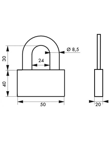 Cadenas à clé Quadra, acier, chantier, anse acier, 50mm, 4 clés - THIRARD Cadenas