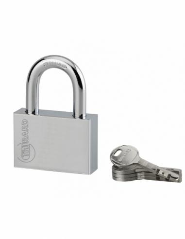 Cadenas à clé Disk, acier, chantier, anse acier, 60mm, 4 clés - THIRARD Cadenas