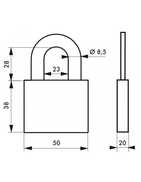 Cadenas à clé Disk, acier, chantier, anse acier, 50mm, 4 clés - THIRARD Cadenas