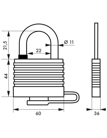 Cadenas Bumper à clé, acier, extérieur, 54mm, 2 clés - THIRARD Cadenas