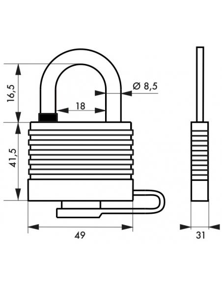 Cadenas Bumper à clé, acier, extérieur, 45mm, 2 clés - THIRARD Cadenas