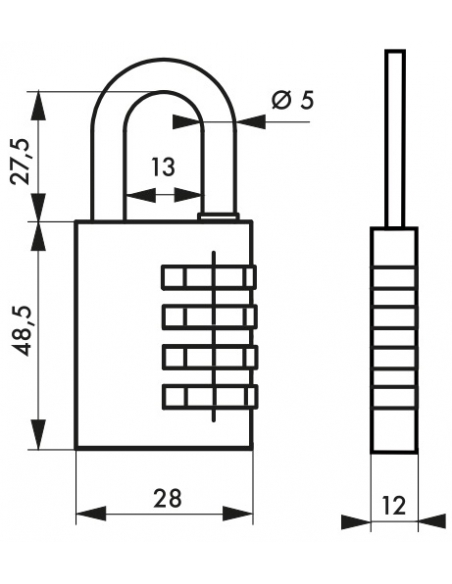 Cadenas à combinaison 258, laiton, 4 chiffres, intérieur, anse acier, 28mm - THIRARD Cadenas