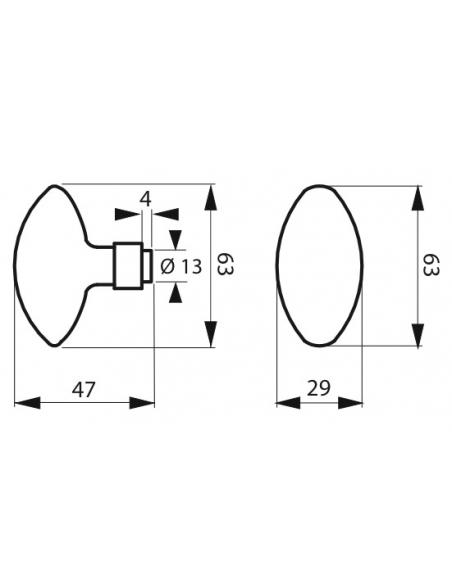 Paire de boutons ovoïdes pour porte d'entrée, carré 7x90mm, 1 portée, noir - THIRARD Poignée