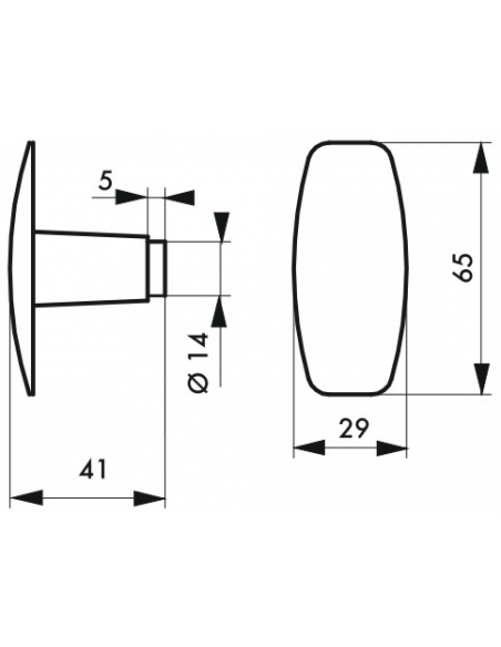 Paire de boutons pour porte, carré 6x110mm, 1 portée, noir - THIRARD Poignée