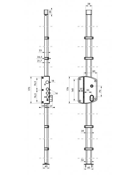 Boitier de serrure 3 points Melissa pour porte d'entrée, gauche, en applique, à fouillot, axe 50mm, or - THIRARD Serrure en a...