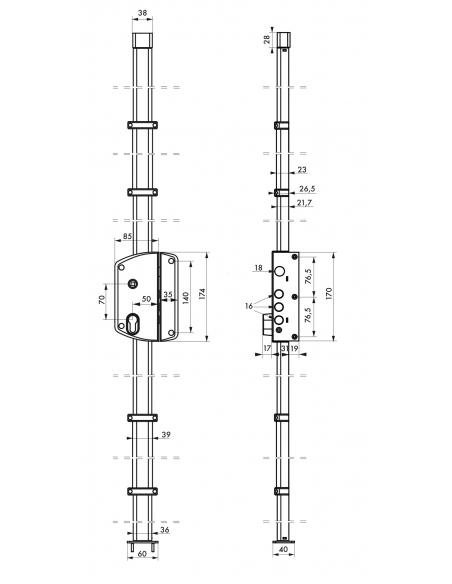 Boitier de serrure en applique Melissa à fouillot pour porte d'entrée, droite, 3 pts, axe 50mm, bronze - THIRARD Serrure en a...