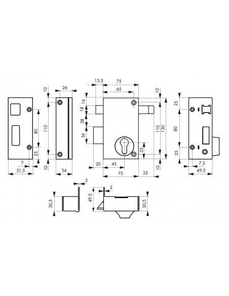Boitier de serrure verticale en applique double entrée à tirage pour porte d'entrée, gauche, axe 45mm, 75x130mm, noir - THIRA...