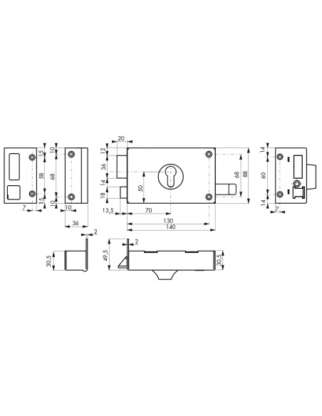 Boitier de serrure horizontale en applique double entrée à tirage pour entrée, gauche, axe 70mm, 140x88mm, noir - THIRARD Ser...