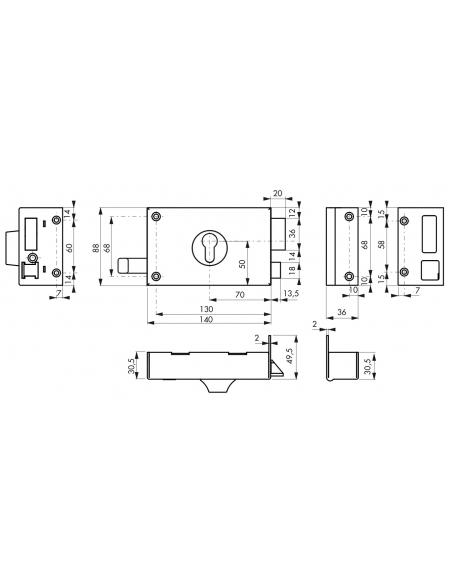 Boitier de serrure horizontale en applique double entrée à tirage pour entrée, droite, axe 70mm, 140x88mm, noir - THIRARD Ser...