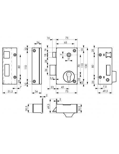 Boitier de serrure verticale en applique double entrée à fouillot pour portail, gauche, 75x130mm, axe 45mm, noir - THIRARD Se...