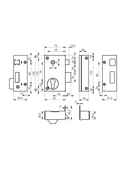 Boitier de serrure verticale en applique double entrée à fouillot pour entrée, droite, axe 45mm, 75x130mm, noir - THIRARD Ser...
