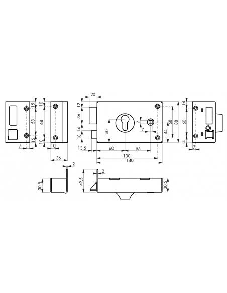 Boitier de serrure horizontale en applique à fouillot à cylindre pour entrée, gauche, 140x88mm, carré 7mm, noir - THIRARD Ser...