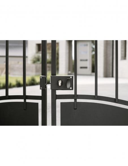 Boitier de serrure horizontale en applique double entrée à fouillot pour portail, gauche, axe 60mm, 140x88mm, noir - THIRARD ...