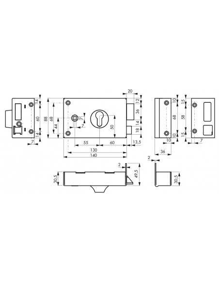 Boitier de serrure horizontale en applique double entrée à fouillot pour entrée, droite, axe 60mm, 140x88mm, noir - THIRARD S...