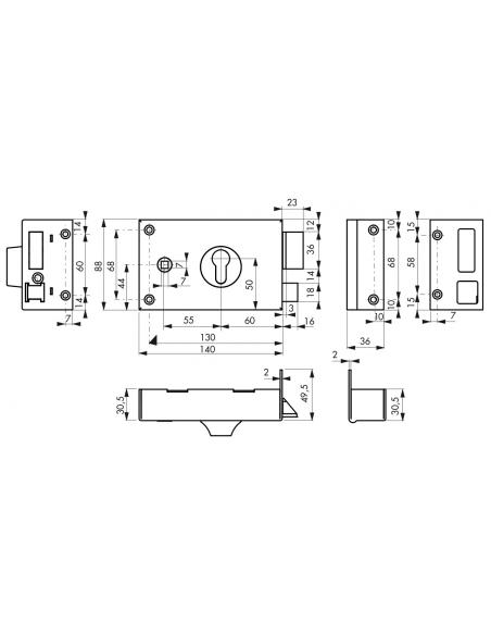 Boitier de serrure horizontale en applique double entrée à fouillot pour portail, droite, axe 60mm, 140x88mm, noir - THIRARD ...