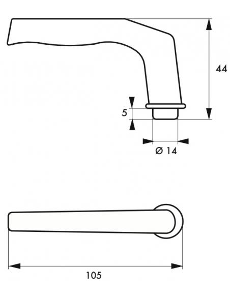 Paire de béquilles Alsace pour porte, carré 8mm, 2 portées, argent - THIRARD Poignée