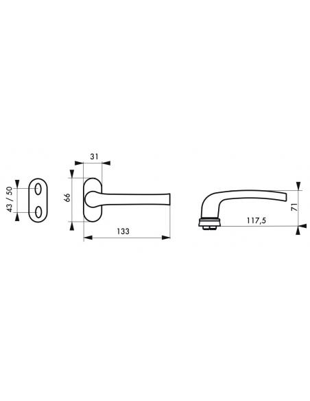 Paire de béquilles pour porte à menuiserie métallique, carré 8mm, noir - THIRARD Poignée