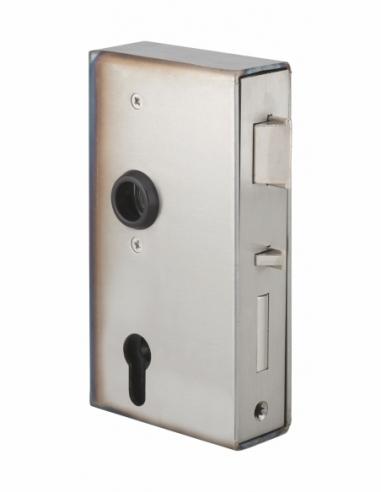 Boitier de serrure verticale à souder double entrée à fouillot pour portail, gauche, axe 60mm, 94x173mm, tube 40mm - THIRARD ...