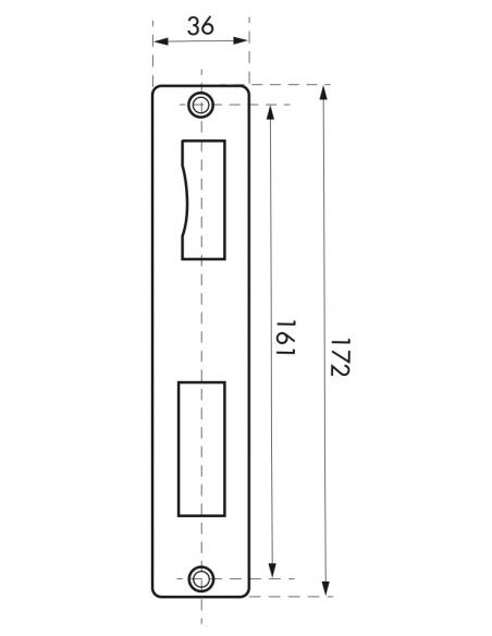 Patine de gâche, double empennage, 40x172mm - THIRARD Gâche de porte