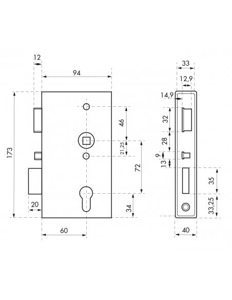 Boitier de serrure verticale à souder double entrée à fouillot pour portail, droite, axe 60mm, 94x173mm, tube 40mm - THIRARD ...