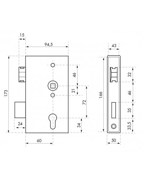 Boitier de serrure à souder double entrée à fouillot pour portail, réversible, axe 60mm, 94.5x173mm, tube 50mm - THIRARD Serr...