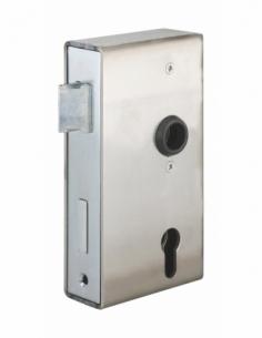 Boitier de serrure à souder double entrée à fouillot pour portail, réversible, axe 60mm, 94.5x173mm, tube 40mm - THIRARD Serr...