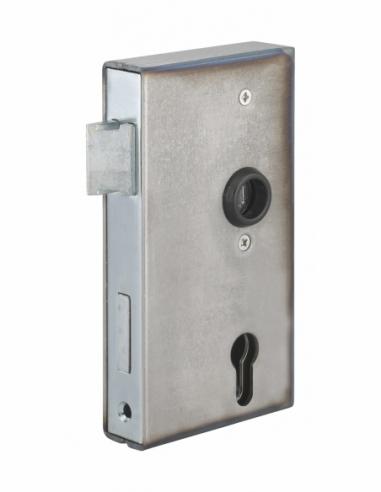 Boitier de serrure verticale à souder double entrée à fouillot pour portail, réversible, axe 60mm, 94x172mm, tube 30mm - THIR...