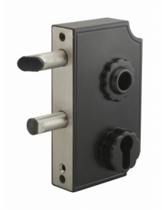 Boitier de serrure à visser double entrée à fouillot pour portail, réversible, axe 58mm, 95x140mm, noir rustique - THIRARD Se...