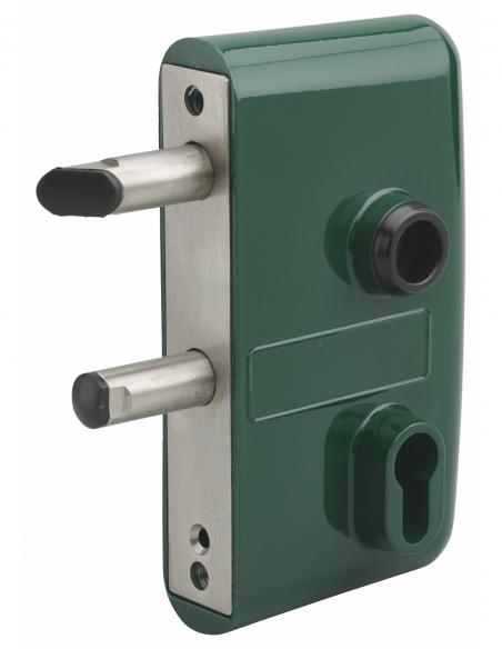 Boitier de serrure verticale à visser double entrée à fouillot pour portail, réversible, axe 58mm, 95x140mm, vert 6005 - THIR...