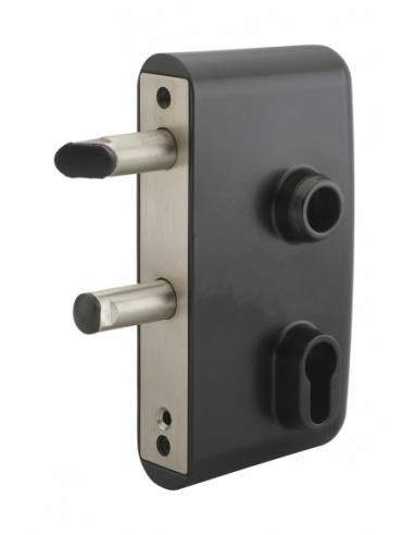 Boitier de serrure verticale à visser double entrée à fouillot pour portail, réversible, axe 58mm, 95x140mm, noir 9005 - THIR...
