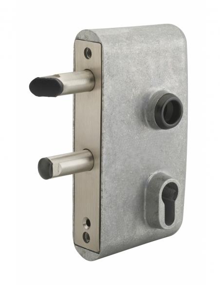 Boitier de serrure verticale à visser double entrée à fouillot pour portail, réversible, axe 58mm, 95x140mm, aluminium - THIR...