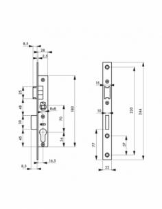 Boitier de serrure encastrable à cylindre pour menuiserie métallique, axe 16.5mm, bouts carrés, inox - THIRARD Serrure encast...
