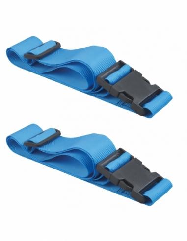 Lot de 2 sangles de serrage, 1.80m à boucle plastique, bleu - THIRARD Sangle