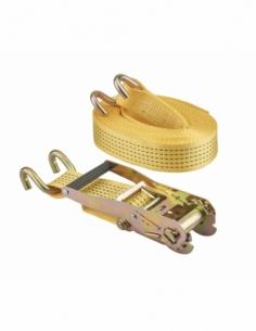 Sangle de serrage, 8m, à cliquet, crochets JJ, jaune - THIRARD Sangle