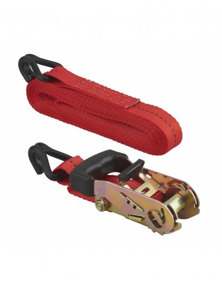 Sangle de serrage, 5m, à cliquet, crochets JJ, rouge - THIRARD Sangle
