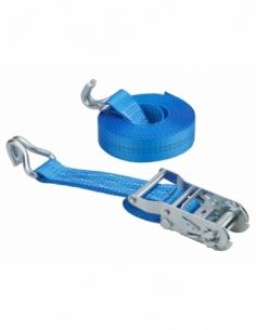 Sangle de serrage, 6m, à cliquet, crochets JJ, bleu - THIRARD Sangle