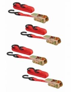 Lot de 4 sangles de serrage, 4.5m, à cliquet, crochet S, rouge - THIRARD Sangle