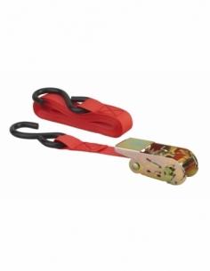 Sangle de serrage, 4.5m, à cliquet, crochet S, rouge - THIRARD Sangle