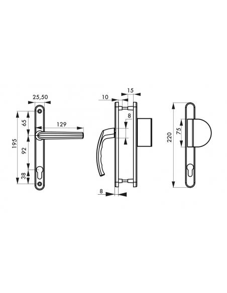 Ensemble de poignées pour porte d'entrée palière Sultane trou de cylindre, carré 8mm, entr'axes 195mm, argent - THIRARD Poignée