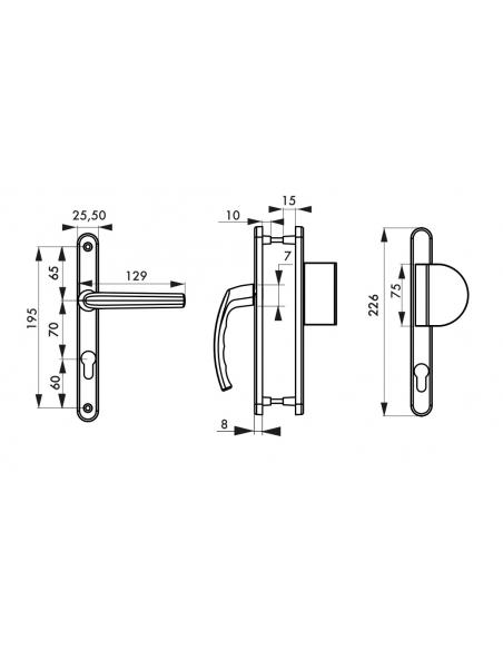 Ensemble de poignées pour porte d'entrée palière Sultane trou de cylindre, carré 7mm, entr'axes 195mm, argent - THIRARD Poignée