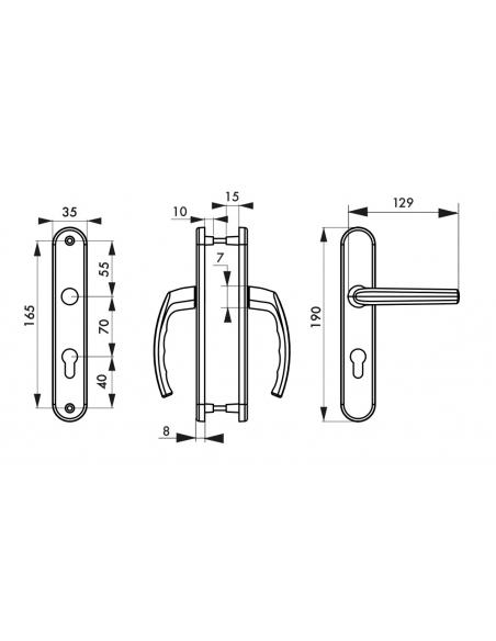 Ensemble de poignées pour porte d'entrée Sultane trou de cylindre, carré 7mm, entr'axes 165mm, argent - THIRARD Poignée