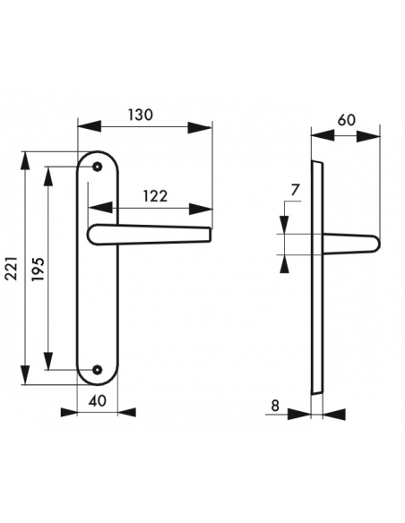 Ensemble de poignées pour porte intérieure Helios sans trou, carré 7mm, entr'axes 195mm, nickelé satiné - THIRARD Poignée