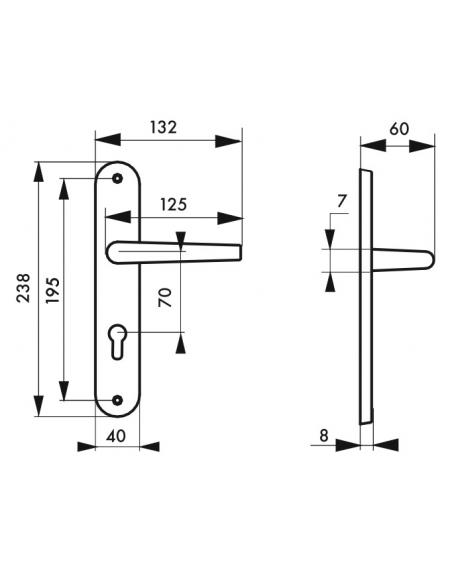Ensemble de poignées pour porte d'entrée Eris trou de cylindre, carré 7mm, entr'axes 195mm, nickelé brossé - THIRARD Poignée