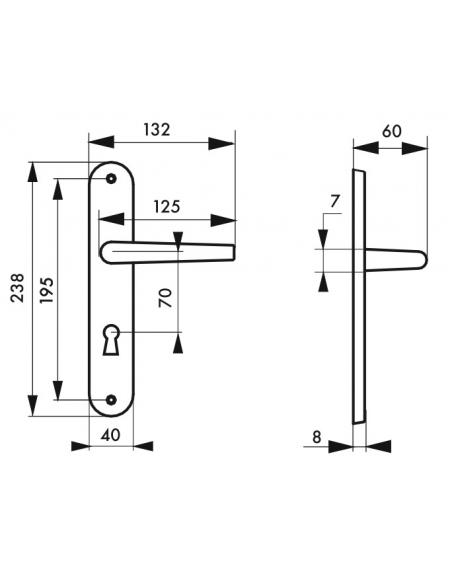 Ensemble de poignées pour porte de chambre Eris trou de clé, carré 7mm, entr'axes 195mm, nickelé brossé - THIRARD Poignée