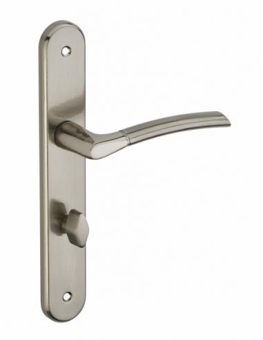 Ensemble de poignées pour salle de bain et toilette Eris à condamnation, carré 7mm, entr'axes 195mm, nickelé brossé - THIRARD...