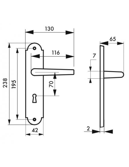 Ensemble de poignées pour porte intérieure Charon trou de clé, carré 7mm, entr'axes 195mm, acier patiné - THIRARD Poignée